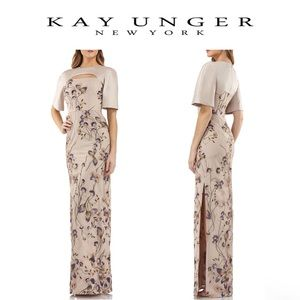 Kay Unger Cutout Mikado & Lace Embroidered Gown